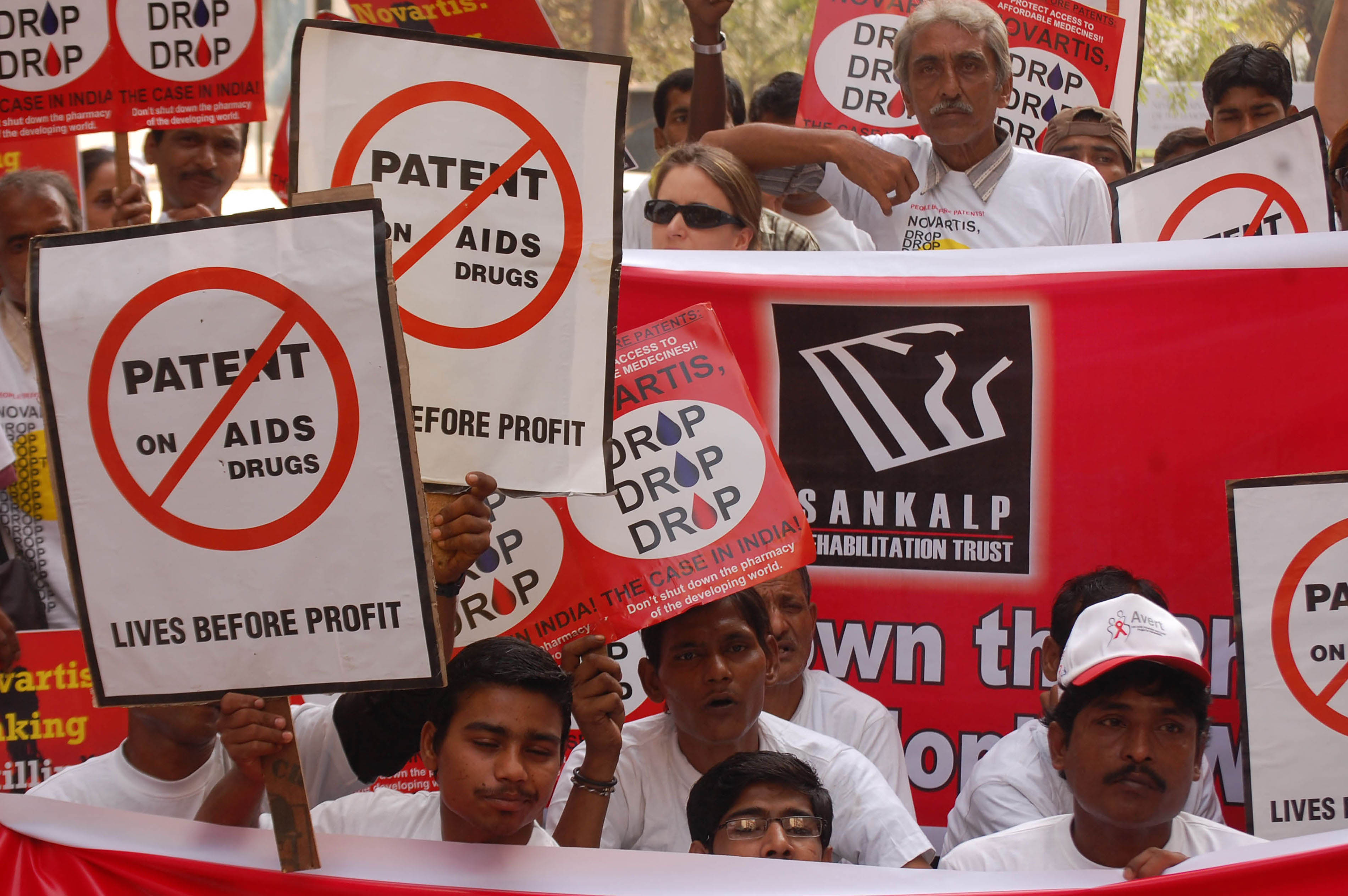 A protest was organised by Indian civil society on World AIDS Day, 1 December 2011, in front of Novartis' Mumbai Office to safeguard India's patent laws for companies to produce affordable generic medicines.