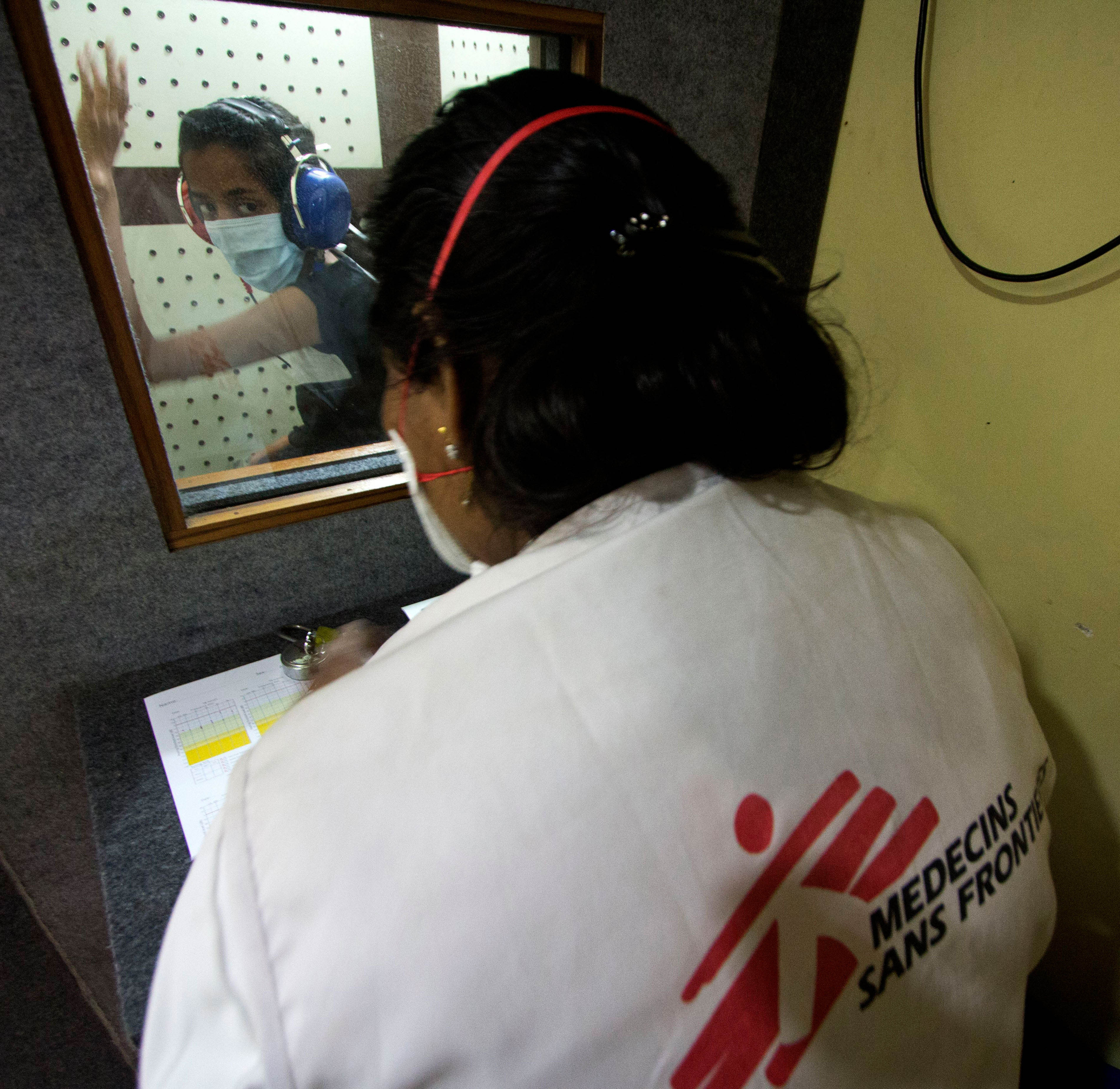 An Extensively Drug Resistant Tuberculosis (XDR-TB) patient undergoing an audiometry test to assess the hearing ability, as hearing loss is one of the side-effects of DRTB drugs