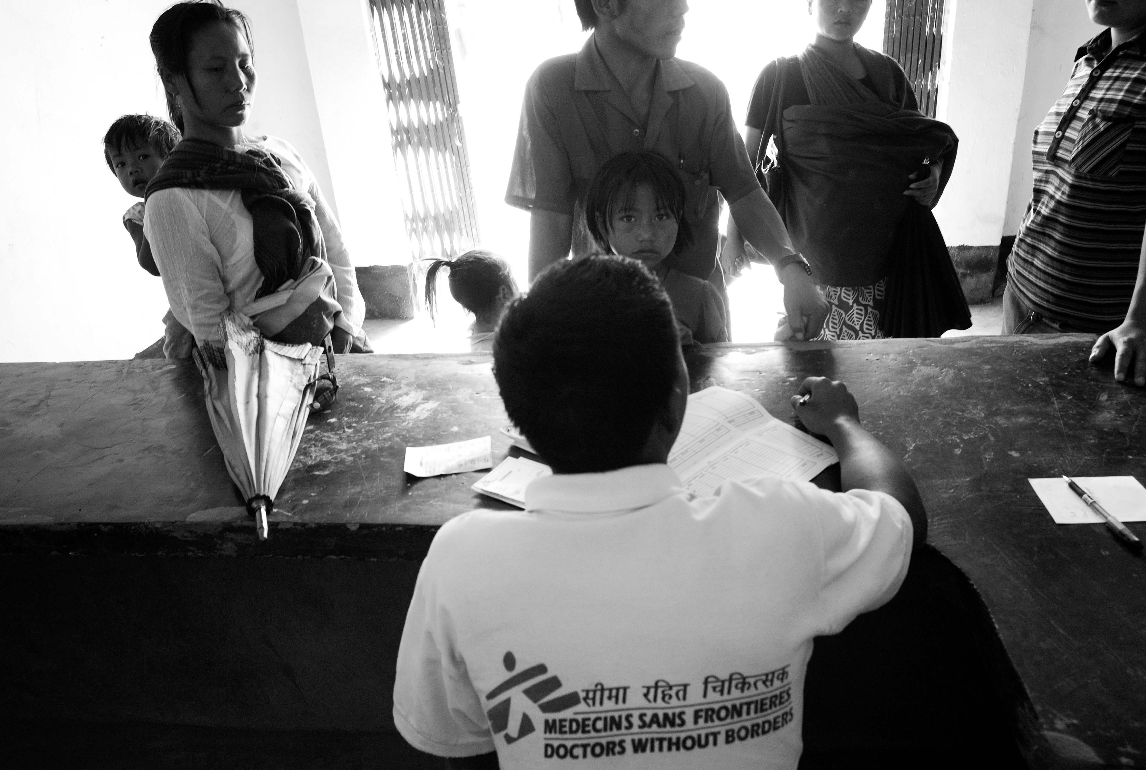 Mother and children register for their Hepatitis-B Vaccination at the MSF Chapikarong clinic. February, 2009, Manipur, India.