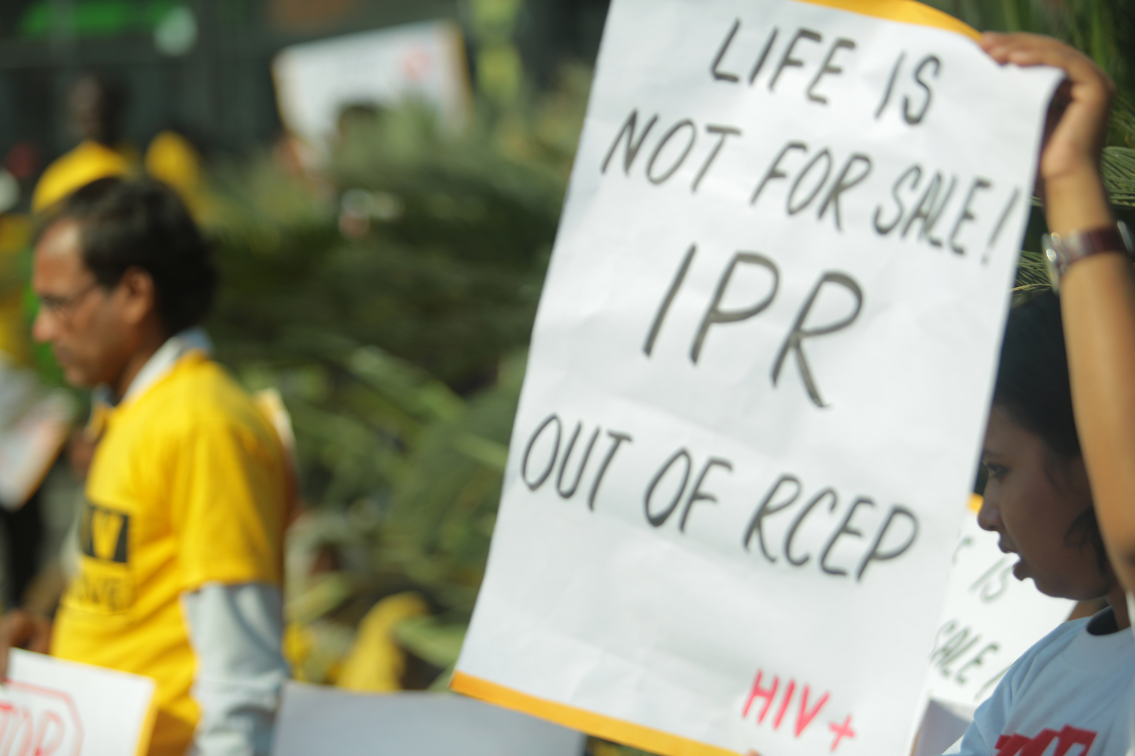 Civil society demonstration against IP provisions in RCEP that can block access to affordable medicines. Protest was done during 6th RCEP negotiationin India, 2014.