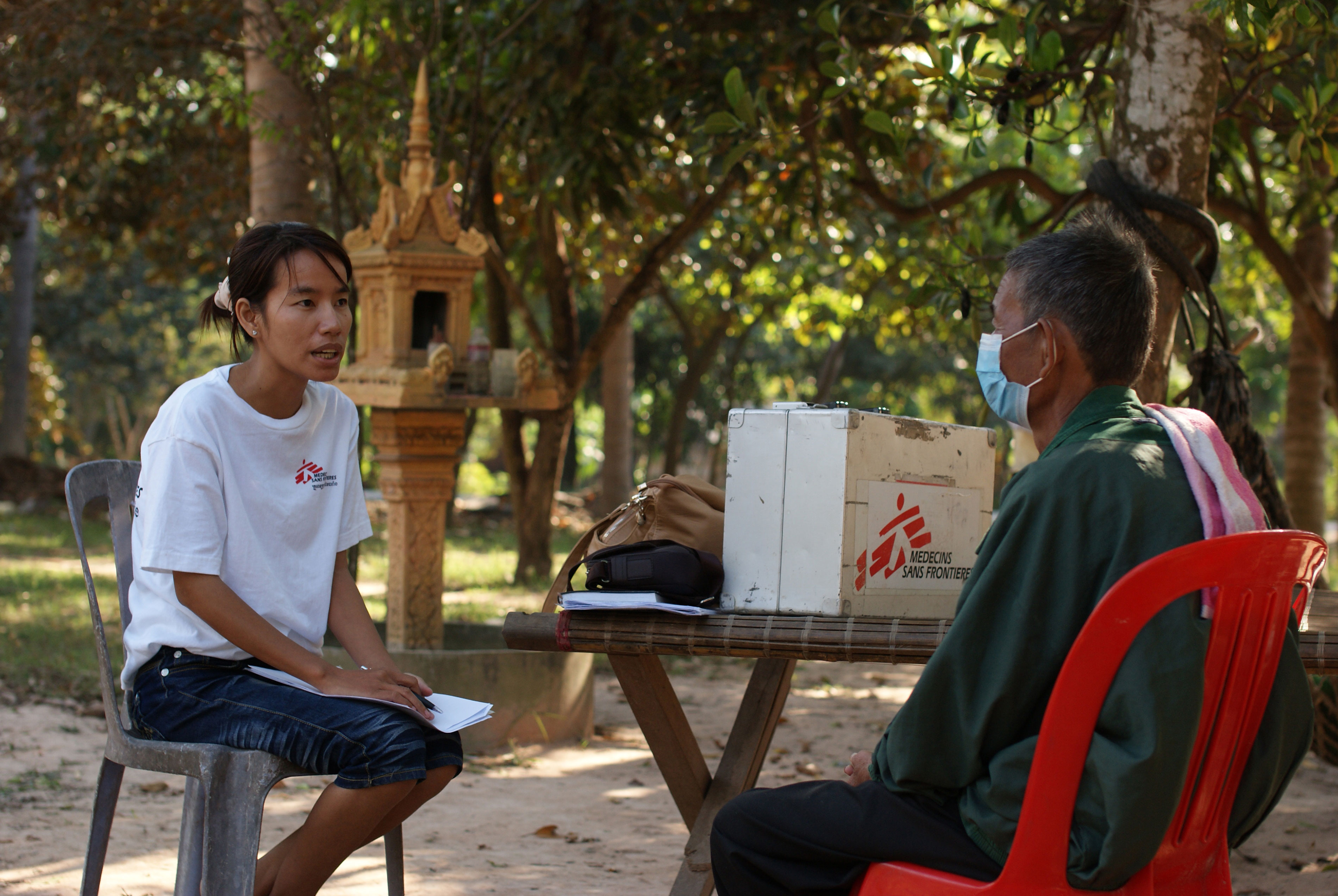 MSF staff conduct a home-based visit for a DR-TB patient in Kampong Cham province, Cambodia.