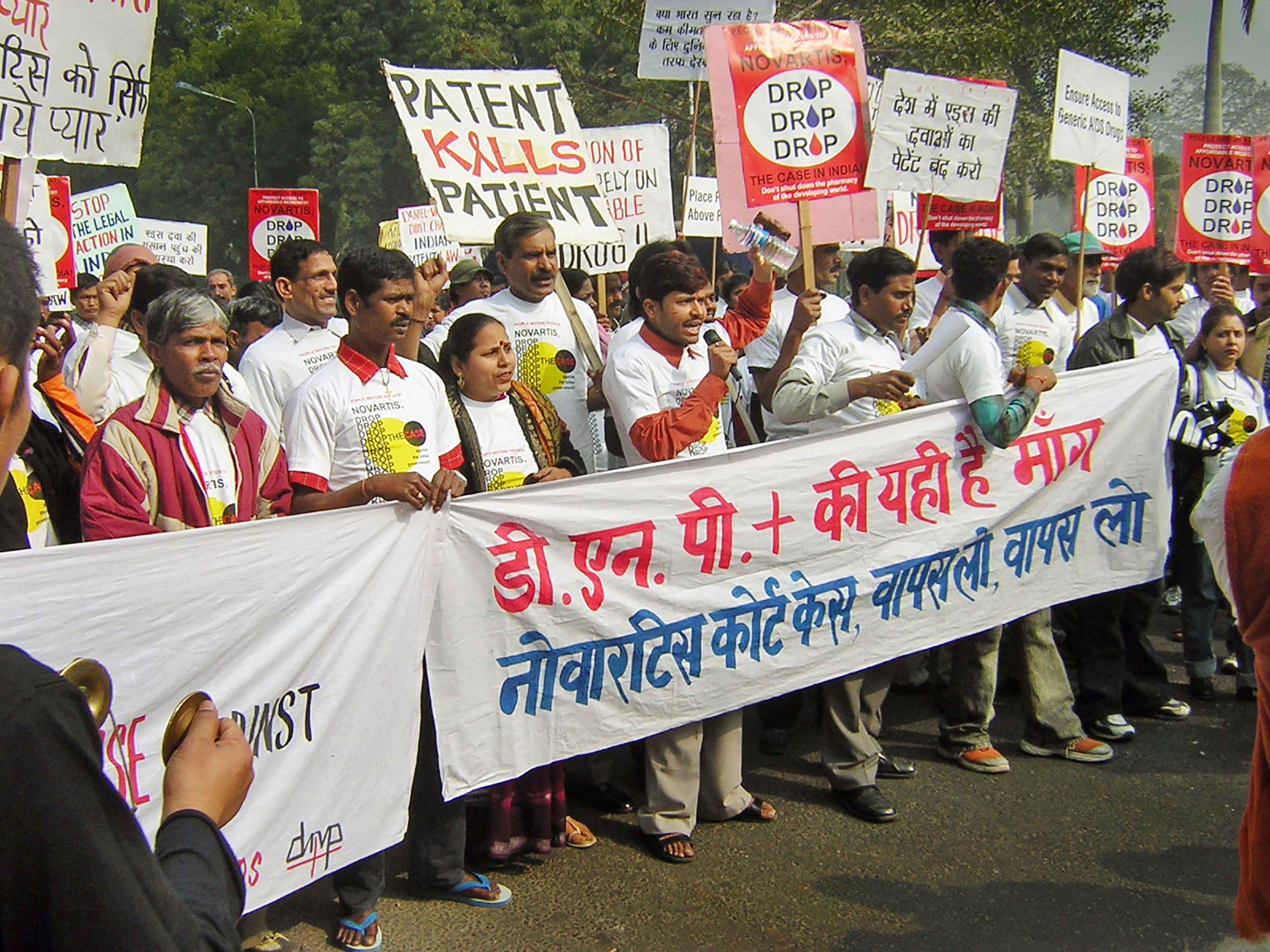Hundreds of Indian activists protested in New Delhi on Monday against a challenge to the country's patent law by Swiss pharmaceutical giant Novartis.