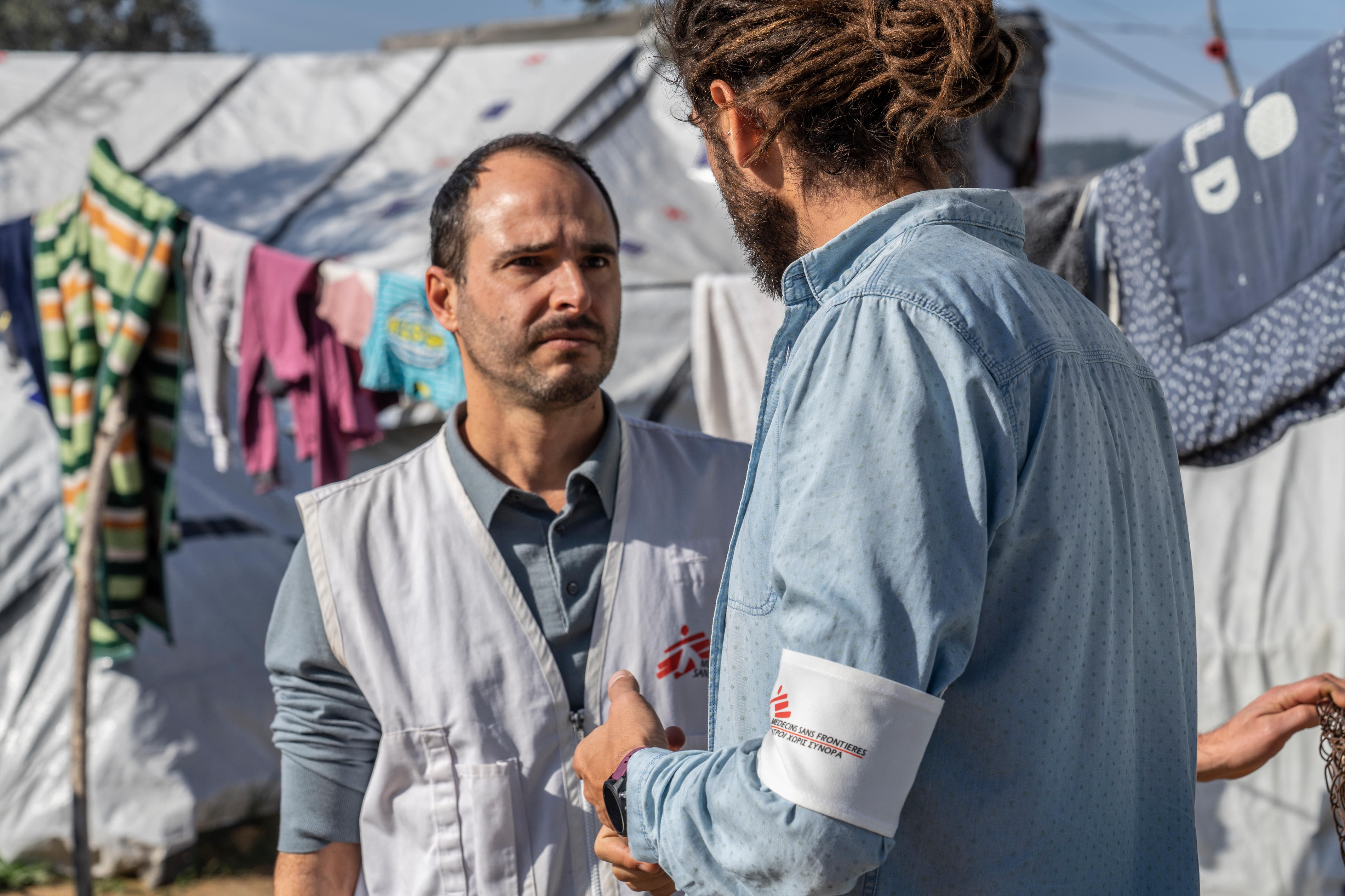 The MSF International President Christos Christou visitng Moria camp in Lesbos to see the situation of asylum seekers and refugees trapped on the greek islands.