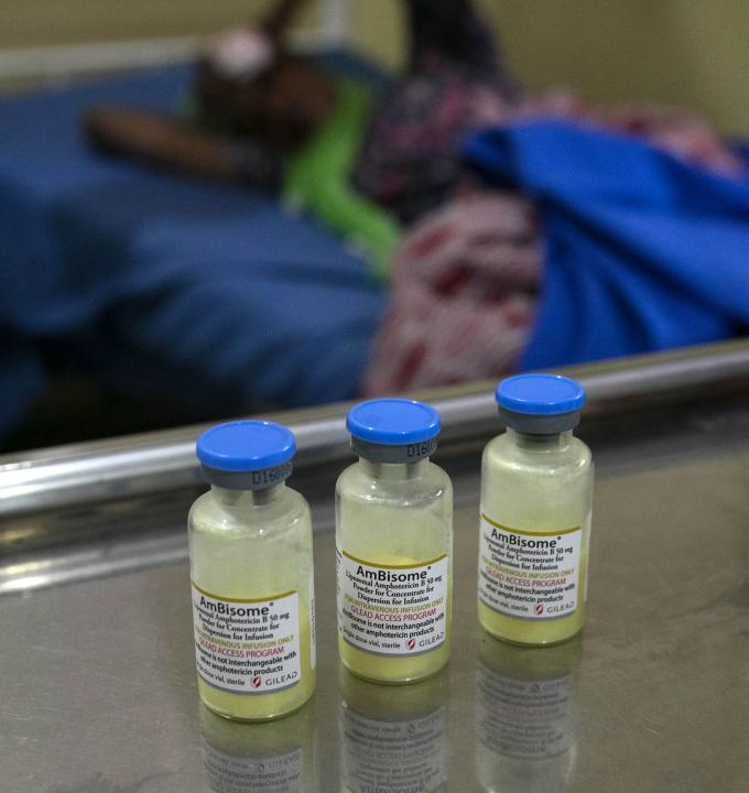 Vials of Amphotericin B which is used to treat Cryptococcal Meningitis, an opportunistic infection affecting very low immunity from HIV patients.