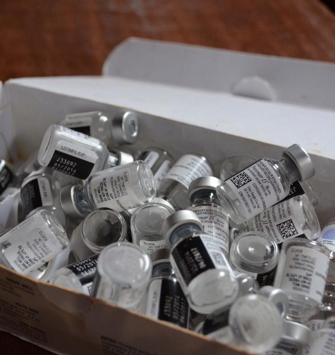 Vials of PCV13, a vaccine that protects children against pneumonia and meningitis. At 9 Euros a dose (three doses are necessary for the vaccine to be effective) PCV13 is currently priced at a rate much higher than most people in Central African Republic can afford. Photograph by Sandra Smiley