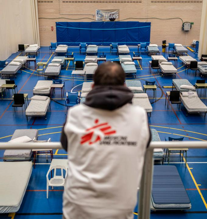 Hospital installed by MSF to treat coronavirus patients in Leganes.