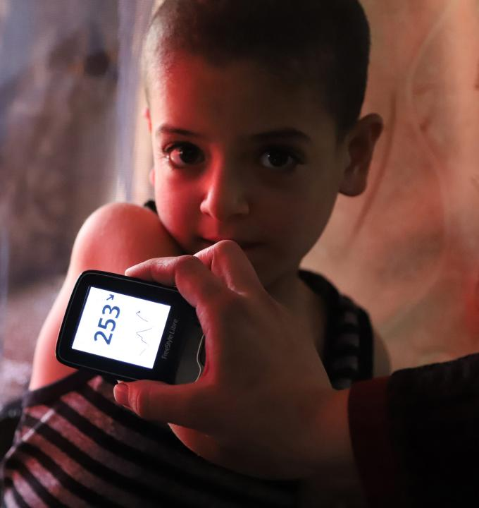 Moussa, 6 years old, was diagnosed with diabetes type I, two years ago.