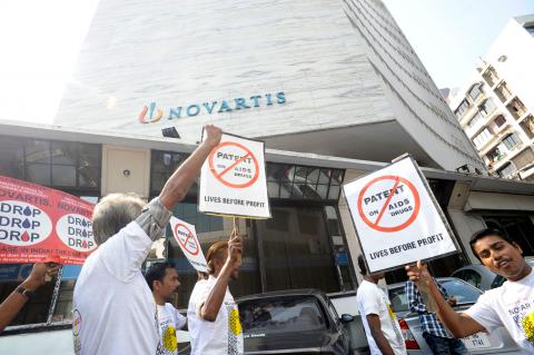 Novartis has been pursuing a legal case aimed at gutting India's patent law of important public health safeguards since 2006. The law allows companies in India to produce affordable generic medicines on which MSF and other care providers in developing countries heavily rely to do our work.  A protest was organised by Indian civil society on World AIDS Day, 1 December 2011, in front of Novartis' Mumbai Office.