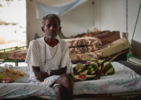 Kasaye, 55, is a secondary kala azar patient with HIV co-infection. Over the past 16 years, he has had 13 recurrences of the disease, all of which have been treated by MSF first in Humera and then in Abdurafi, Ethiopia 2018.