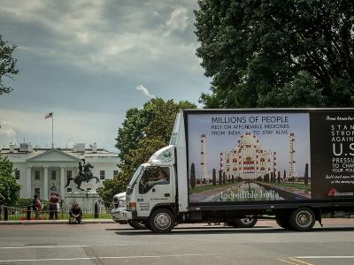 Doctors Without Borders mobile billboard is seen near the White House in Washington DC during India's Prime Minister Modi's visit June 7, 2016.