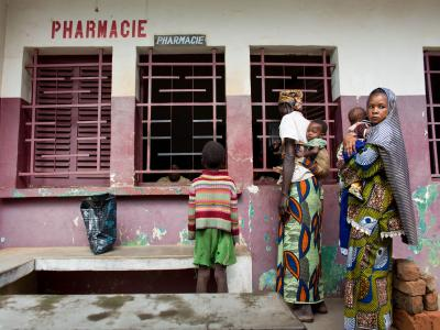 A group of mothers with their children line up to receive their drugs at a hospital pharmacy in Bossangoa, in the northwest region of the Central African Republic, June 2013.