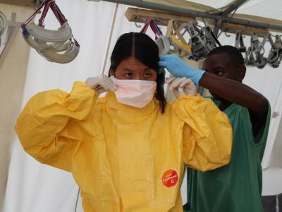 Joanne Liu (International President), Ronald Kremer (OCA Health Advisor) and Brice dele Vigne visited the ebola treatment centre in Kailahun, Sierra Leone on August 2011
