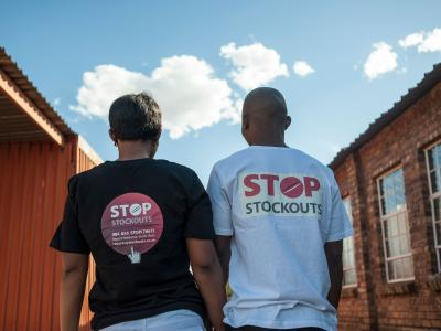 Stop Stock Outs (SSP) activists at the Stop Stock Outs (SSP) activist meeting in Soshanguve, a township outside of Pretoria on April 16, 2015.