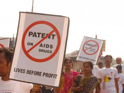 A protest was organised by Indian civil society on World AIDS Day, 1 December 2011, in front of Novartis' Mumbai Office.