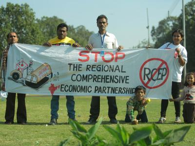 Civil society demonstration against IP provisions in RCEP that can block access to affordable medicines. Outside Ministry of Commerce, Udyog Bhawan, New Delhi