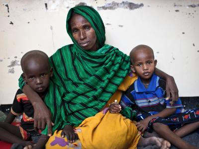 abiba Dahir Muse with her two sons Shafeer (4, left) and Abdikayr, (5, right). They came from Galgaduud region, about 160 kilometers from Galcayo. Her children were suffering from Diphtheria, two of her daughters died already. After their funeral she took the bus and brought her sons to the hospital. The transport money was collected among her community. After some days in isolation the boys are getting better and are now in the TFC (Therapeutic Feeding Centre) at the hospital MSF runs in Galcayo South. Hab