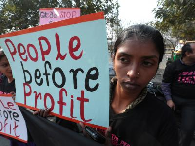 People affected with Hepatitis C and HIV protesting at Delhi Patent Office during hearing of Sofosbuvir Patent Opposition, February 2016
