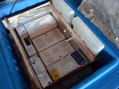 A coolbox full of vaccines for the massive MSF multi antigen campaign in Bangassou sub-prefecture, Mbomou prefecture, CAR. Photograph by Sandra Smiley