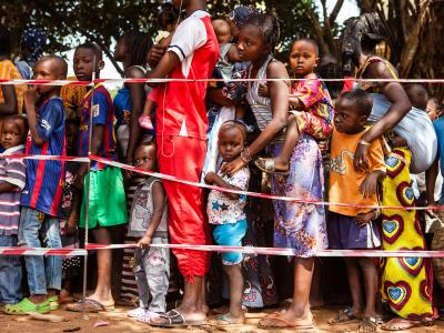 Children queue at a vaccination point in the commune of Matoto, Conakry, Guinea. Médecins Sans Frontières/Doctors without Borders (MSF) is launching a large scale measles vaccination campaign in Conakry, the capital of Guina. Since the beginning of the year there have been 3468 confirmed cases and 14 deaths dues to measles in Guinea. Conakry and Nzérékoré are the most affected districts. Photograph by Markel Redondo