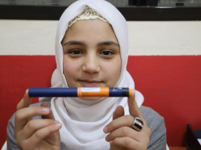 Sidra is a 12 year old affected by diabetes type I. She was admitted to Médecins Sans Frontières' clinic (MSF) in Shatila Camp, South Beirut, almost a year ago, where he is provided with insulin pens.