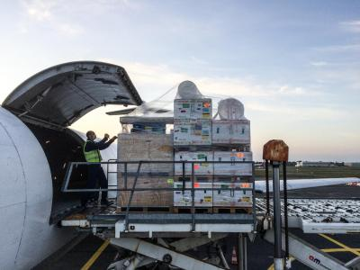 MSF teams are loading medical equipment including inflatable hospital in Merignac airport on 21 March 2020 to be sent to Ispahan, Iran to respond to the coronavirus pandemic.