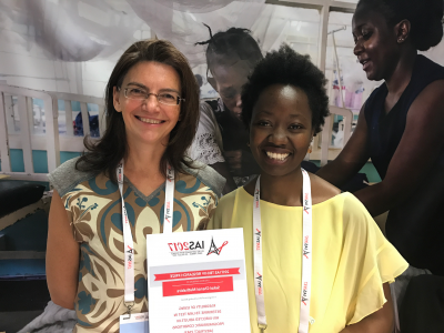 Chenai Mathabire (right), MSF nurse and Researcher won the HIV/TB Research Prize at this year's IAS for her study on the feasibility of using Determine TB-LAM.